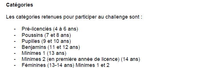 manches de challenges categories