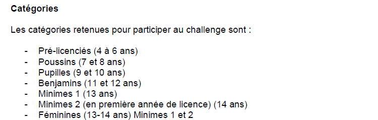 manches de challenges categories